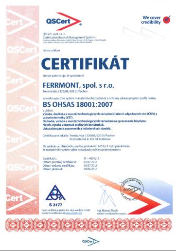 Certificate BS OHSAS 18001:2007 (SK)