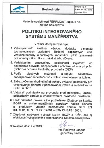 Politika integrovaného systému manažérstva (SK)
